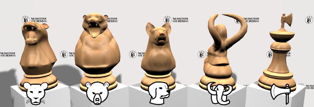 New pieces : Bear, Lioness, Dog, Mammoth, Glider.